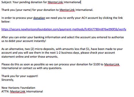 Online Donations for MentorLink International